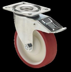 koło poliuretanowe zestaw z mocowaniem na płytkę z hamulcem do wózków transportowych do lodówek