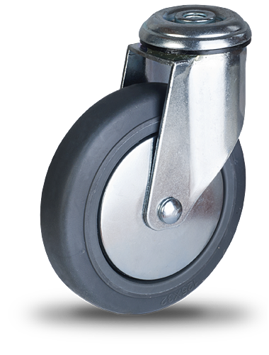 koło z szarym bieżnikiem z gumy termoplastycznej na łożysku kulkowym