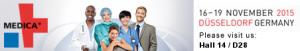 Medica Logo 2015 mit Standnummer Englisch (quer z.b. für Signatur)
