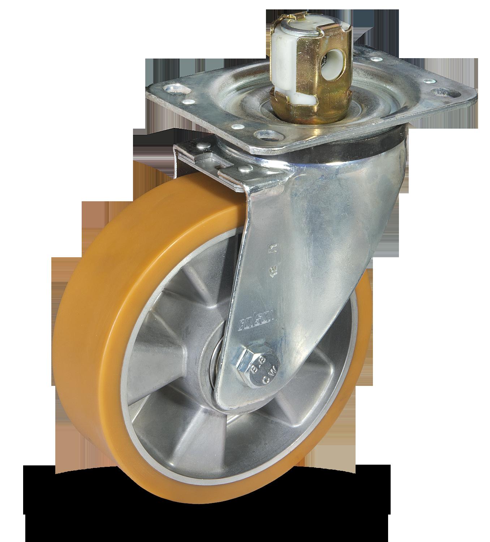 AU koło aluminiowo-poliuretanowe z hamulcem centralnym