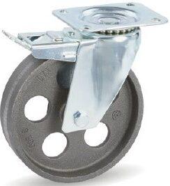Koło żeliwne do wysokich temperatur dostępne na mocowaniach skrętnych z hamulcem